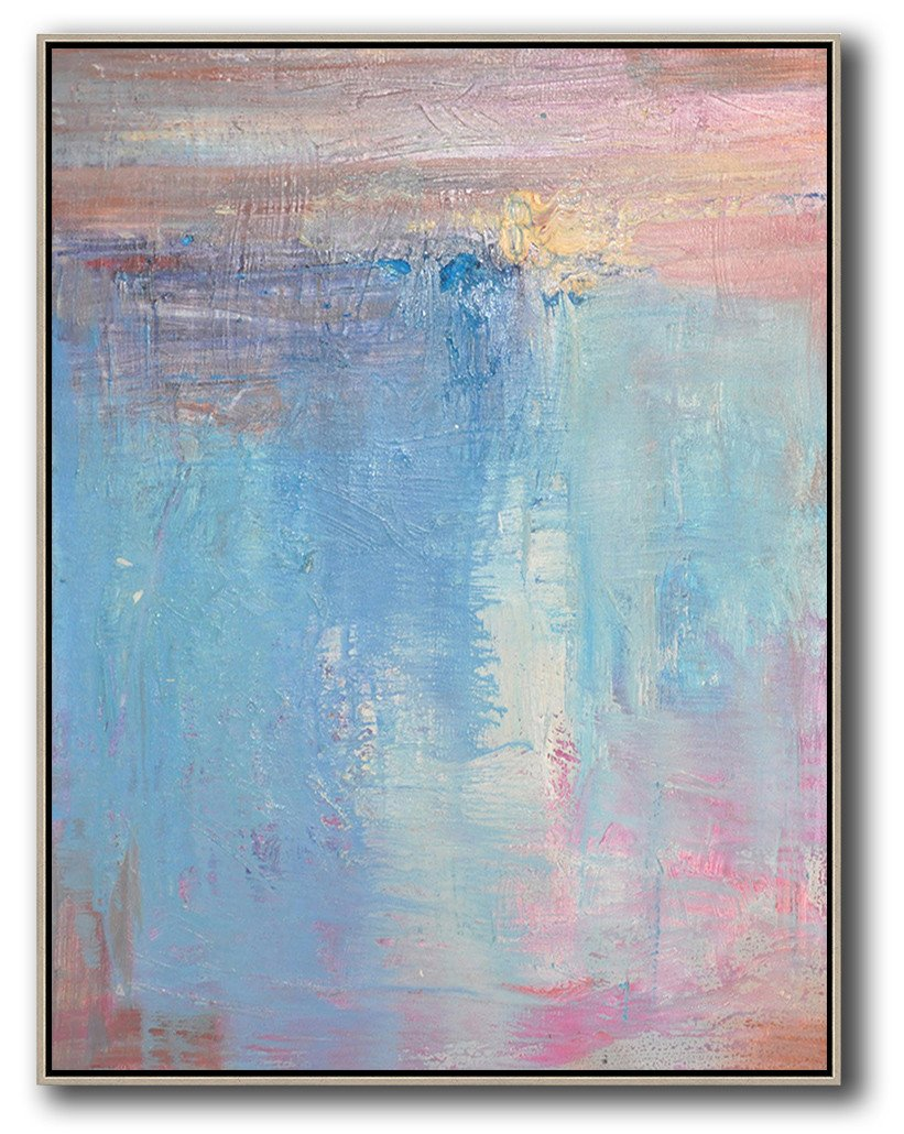 Huge Abstract Painting On Canvas,Vertical Palette Knife Contemporary Art,Big Canvas Painting,Pink,Nblue,Purple.etc
