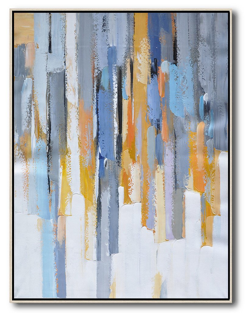 Original Painting Hand Made Large Abstract Art,Vertical Palette Knife Contemporary Art,Extra Large Canvas Painting,Purple,Yellow,White,Grey.etc