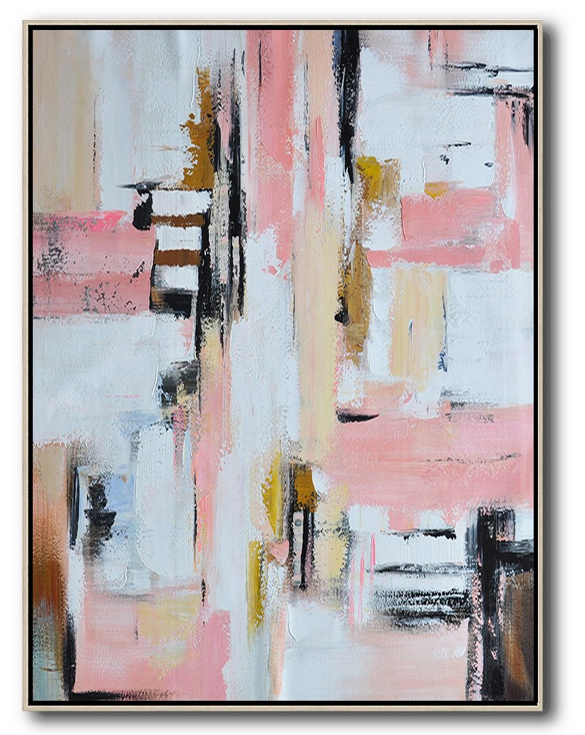 Handmade Large Contemporary Art,Vertical Palette Knife Contemporary Art,Large Abstract Art Handmade Acrylic Painting,Pink,White,Beige,Brown.etc