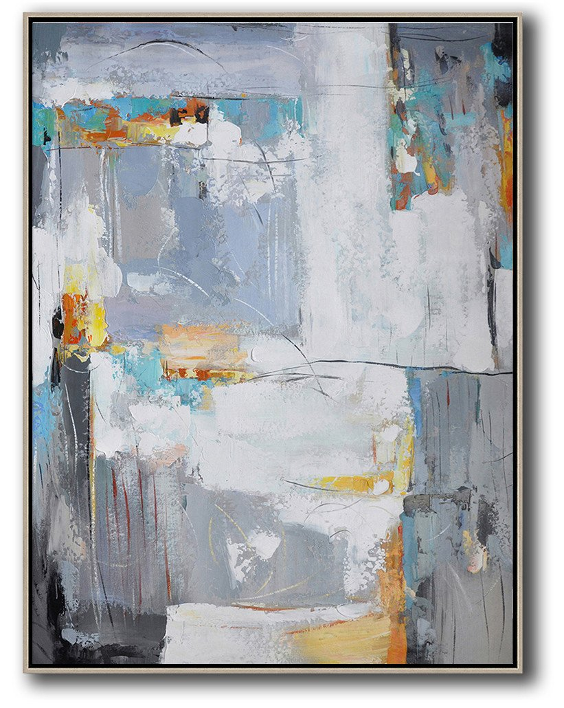 Extra Large Acrylic Painting On Canvas,Vertical Palette Knife Contemporary Art,Large Oil Canvas Art,White,Grey,Yellow.etc