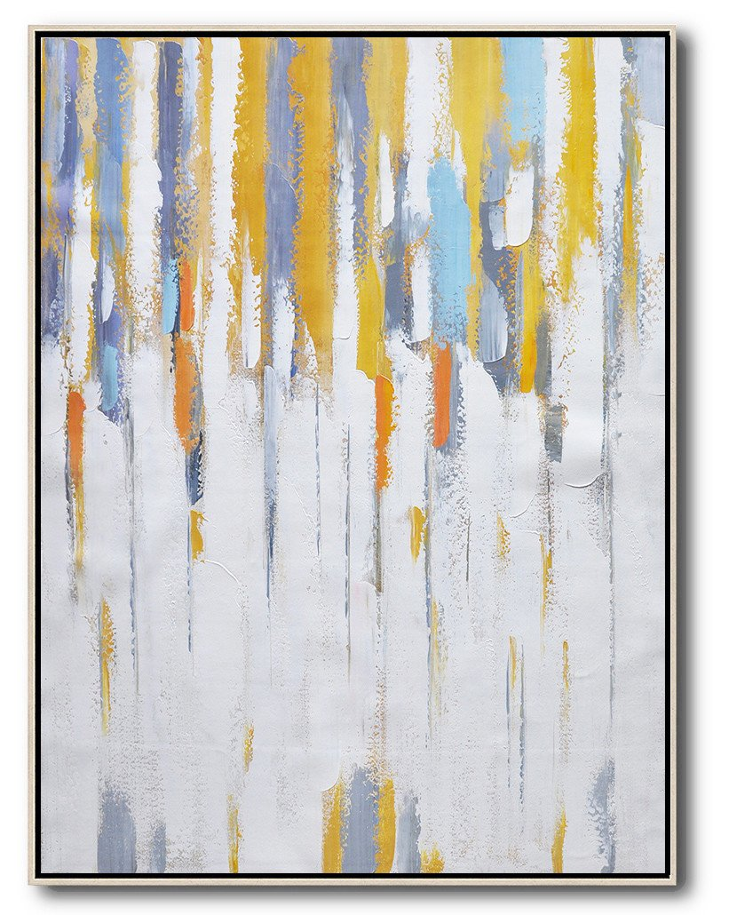 Abstract Painting Extra Large Canvas Art,Vertical Palette Knife Contemporary Art,Handmade Acrylic Painting,White,Yellow,Violet Ash,Grey.etc