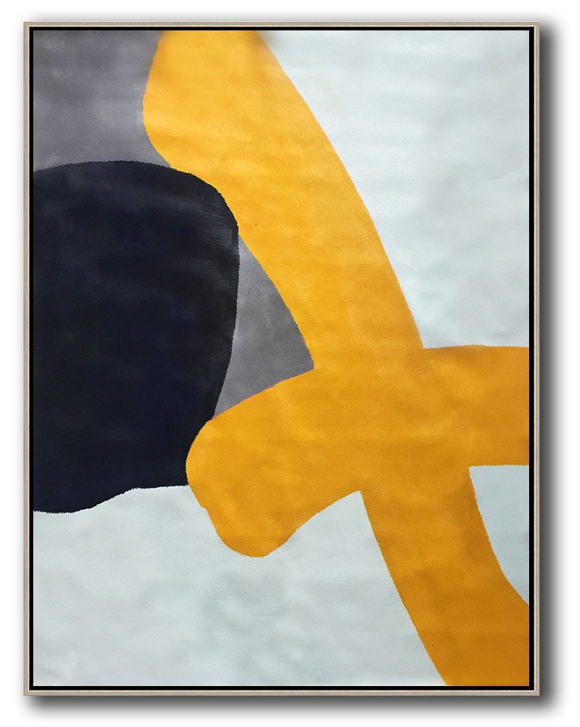Handmade Extra Large Contemporary Painting,Vertical Contemporary Art,Large Contemporary Painting,Yellow,White,Black,Navy Blue.etc