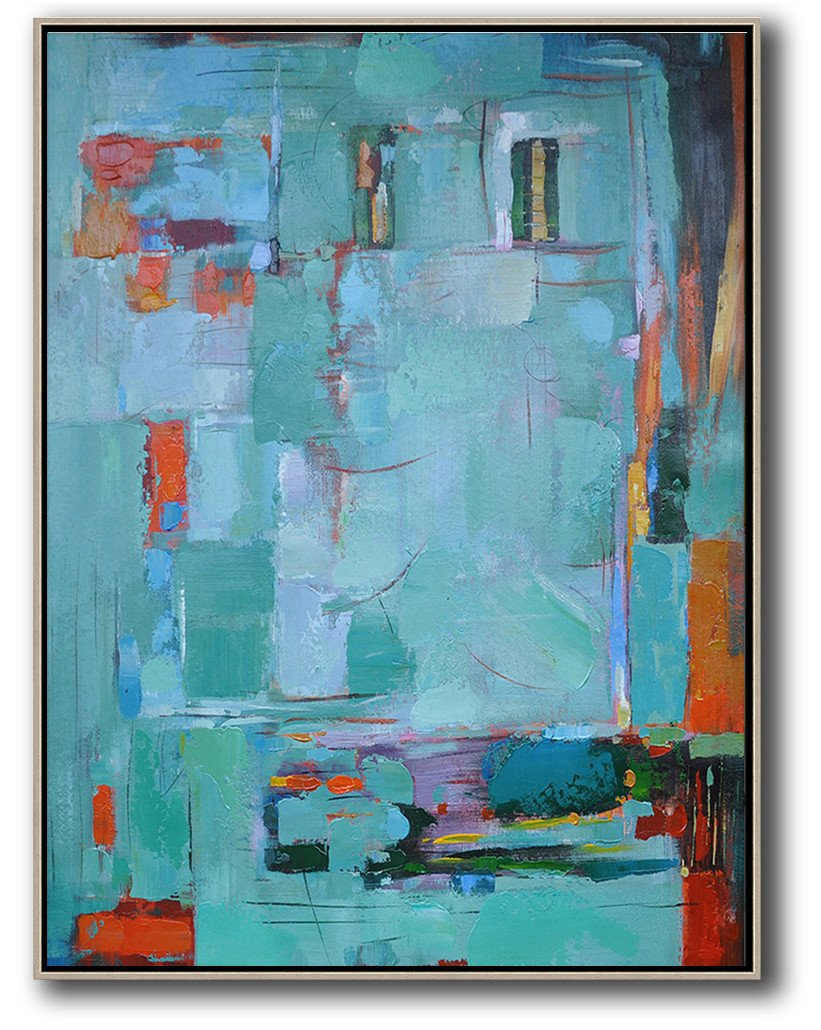 Large Abstract Painting On Canvas,Vertical Palette Knife Contemporary Art,Large Canvas Wall Art For Sale,Lake Blue,Red,Black.etc