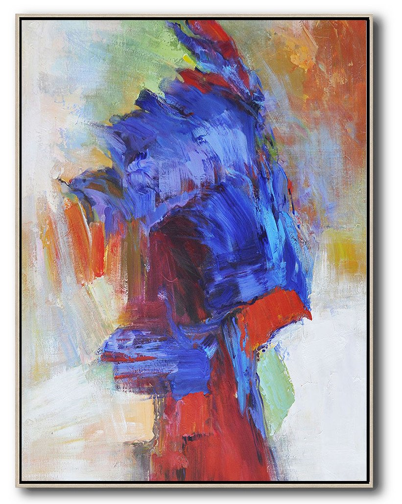 Abstract Painting Extra Large Canvas Art,Vertical Palette Knife Contemporary Art,Oversized Canvas Art,Blue,Red,White,Orange,Brown.etc