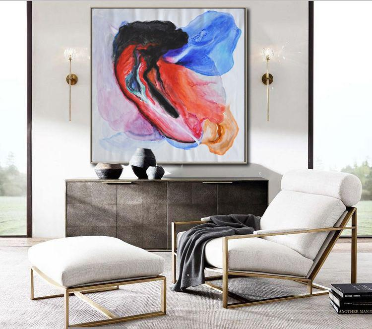 Handmade Large Contemporary Art,Contemporary Oil Painting,Original Art Acrylic Painting,Black,Red,Blue,Pink.etc