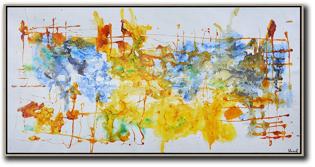 Large Paintings For Living Room,Contemporary Oil Painting,Extra Large Paintings,Grey,Blue,Yellow.etc