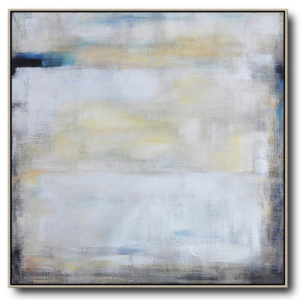 Hand Made Abstract Art,Oversized Contemporary Painting,Hand Painted Acrylic Painting,White,Yellow,Blue,Black.etc