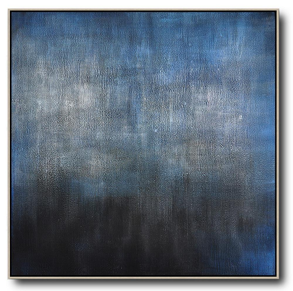 Handmade Large Painting,Oversized Contemporary Painting,Handmade Acrylic Painting,Black,Blue,Gray.etc