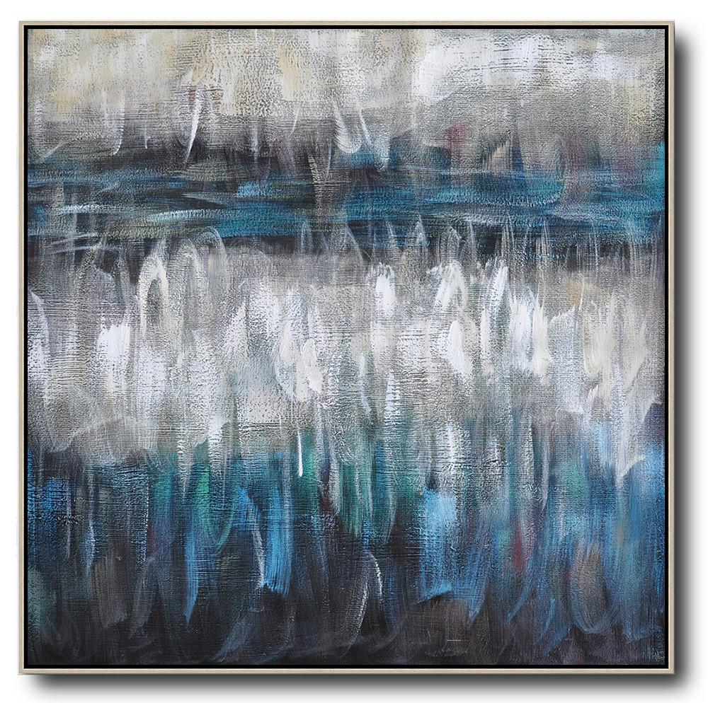 Large Contemporary Art Acrylic Painting,Oversized Contemporary Painting,Wall Art Painting,White,Blue,Brown,Black.etc