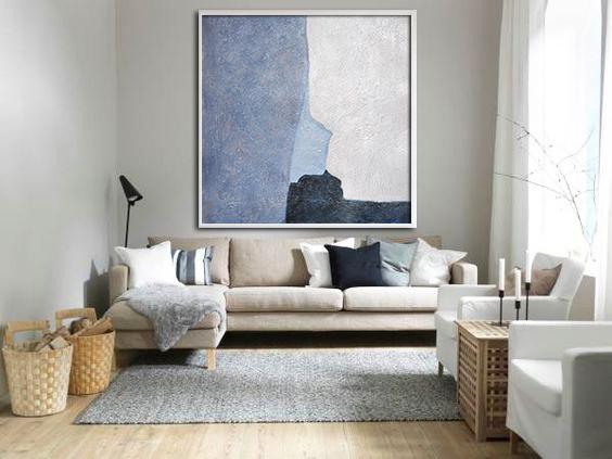 Huge Abstract Painting On Canvas,Oversized Abstract Landscape Painting,Canvas Artwork For Sale,Blue,Violet And Grey,White.etc