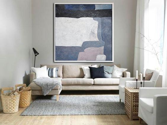 Handmade Large Painting,Oversized Abstract Landscape Painting,Big Wall Art For Living Room,Dark Blue,White,Violet Ash.etc