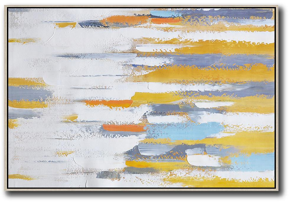 Large Abstract Art,Oversized Contemporary Painting On Canvas,Acrylic Painting Large Wall Art,Yellow,White,Grey.etc