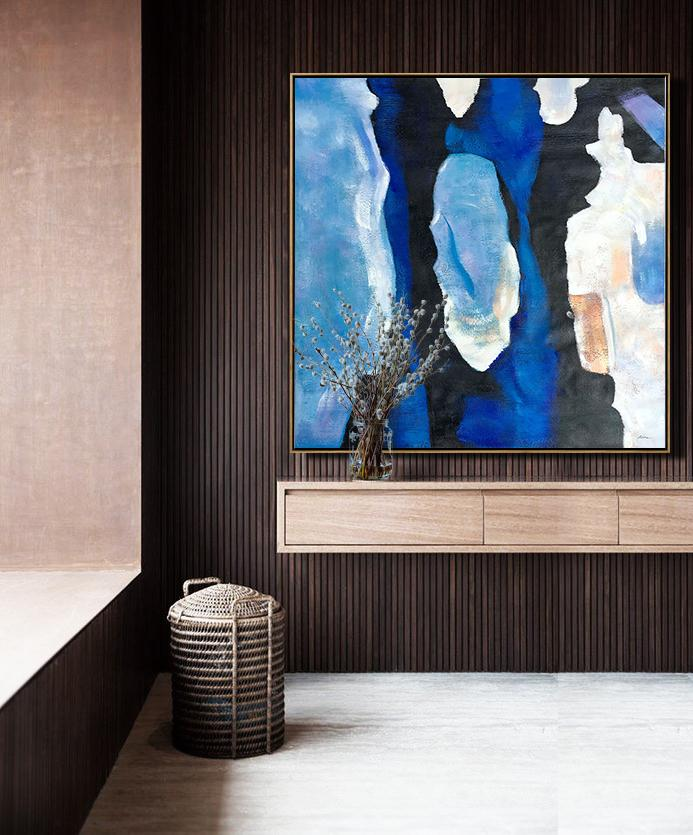 Abstract Painting Extra Large Canvas Art,Oversized Blue Contemporary Painting On Canvas,Big Canvas Painting,Blue,Black,White,Sky Blue.etc