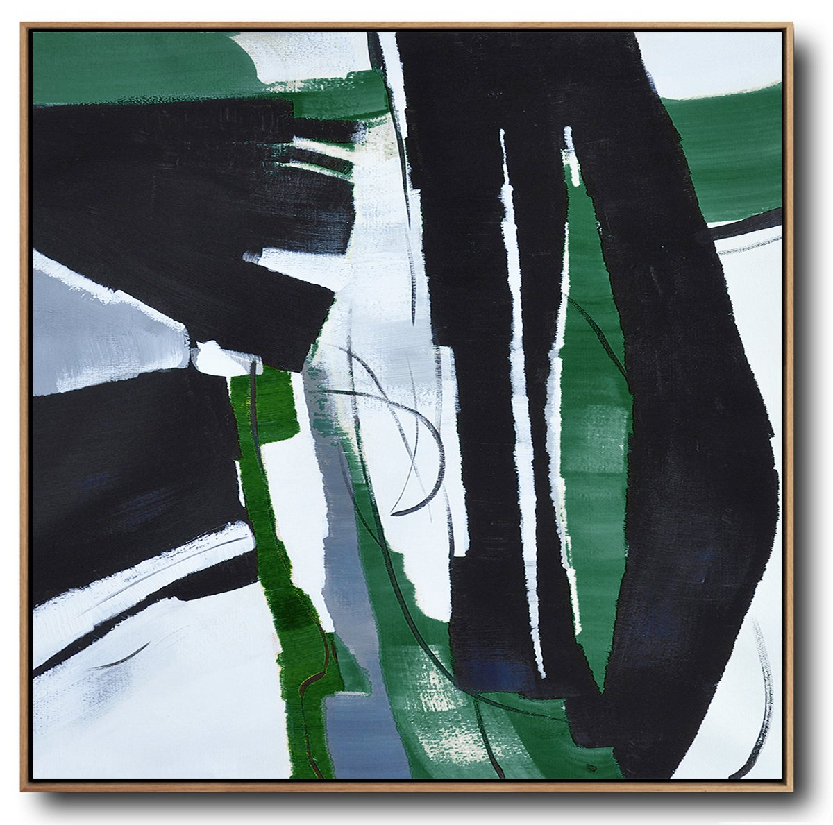 Handmade Extra Large Contemporary Painting,Oversized Dark Green Contemporary Painting On Canvas,Original Art Acrylic Painting,Dark Green,Balck,White.etc