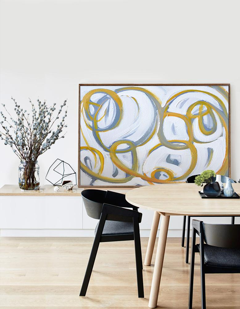 Abstract Painting Extra Large Canvas Art,Horizontal Palette Knife Contemporary Art,Living Room Wall Art,White,Yellow,Grey.etc