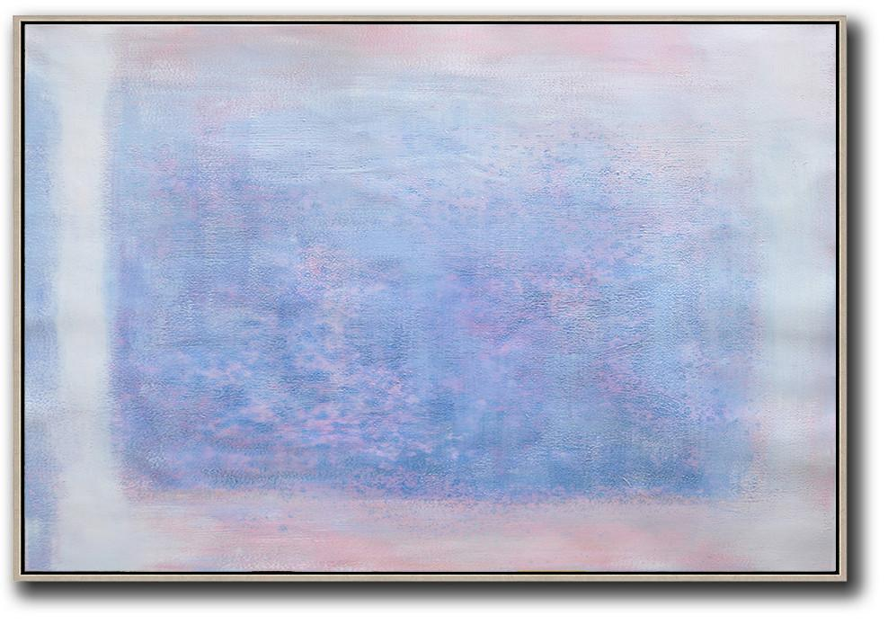 Extra Large Abstract Painting On Canvas,Oversized Horizontal Contemporary Art,Art Work,Pink,Blue,Purple,White.etc