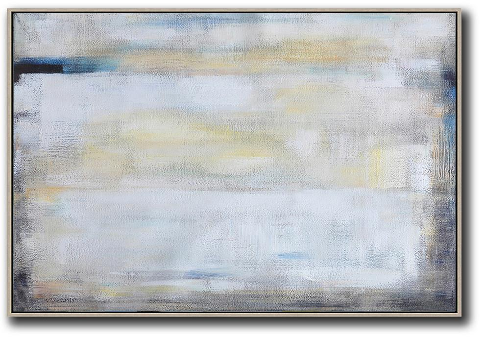 Extra Large Abstract Painting On Canvas,Oversized Horizontal Contemporary Art,Hand Painted Original Art,White,Grey,Yellow.etc