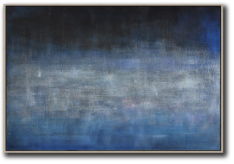 "Extra Large 72"" Acrylic Painting,Oversized Horizontal Contemporary Art,Canvas Artwork For Sale,Dark Blue,Grey,Black.etc"
