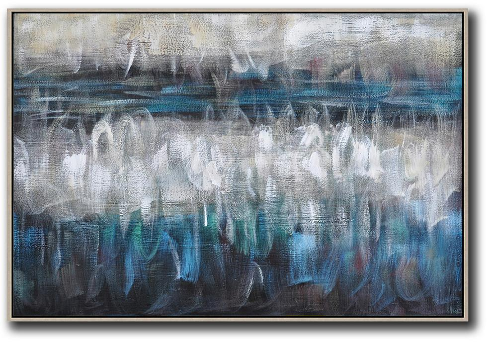 Handmade Large Painting,Oversized Horizontal Contemporary Art,Modern Abstract Wall Art,Blue,Grey,Black,White.etc