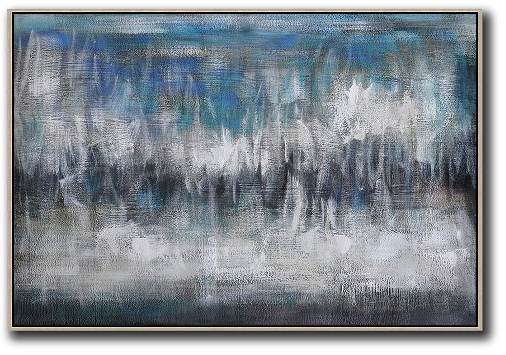 Original Artwork Extra Large Abstract Painting,Oversized Horizontal Contemporary Art,Unique Canvas Art,Blue,Grey,Black,White.etc