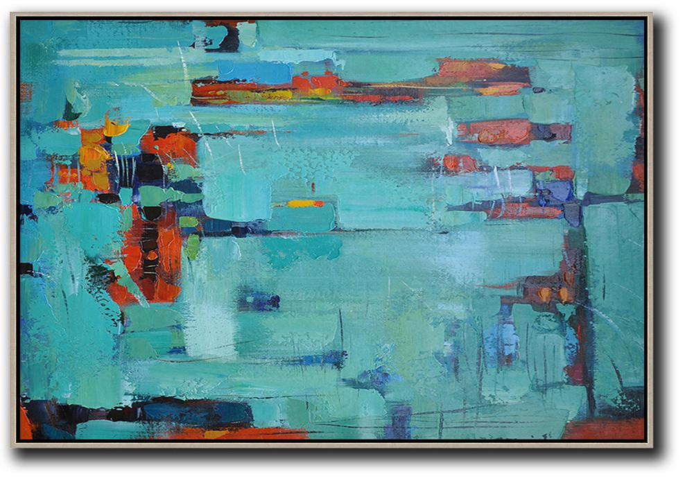 Original Artwork Extra Large Abstract Painting,Oversized Horizontal Contemporary Art,Acrylic Painting On Canvas,Lake Blue,Dark Blue ,Red.etc