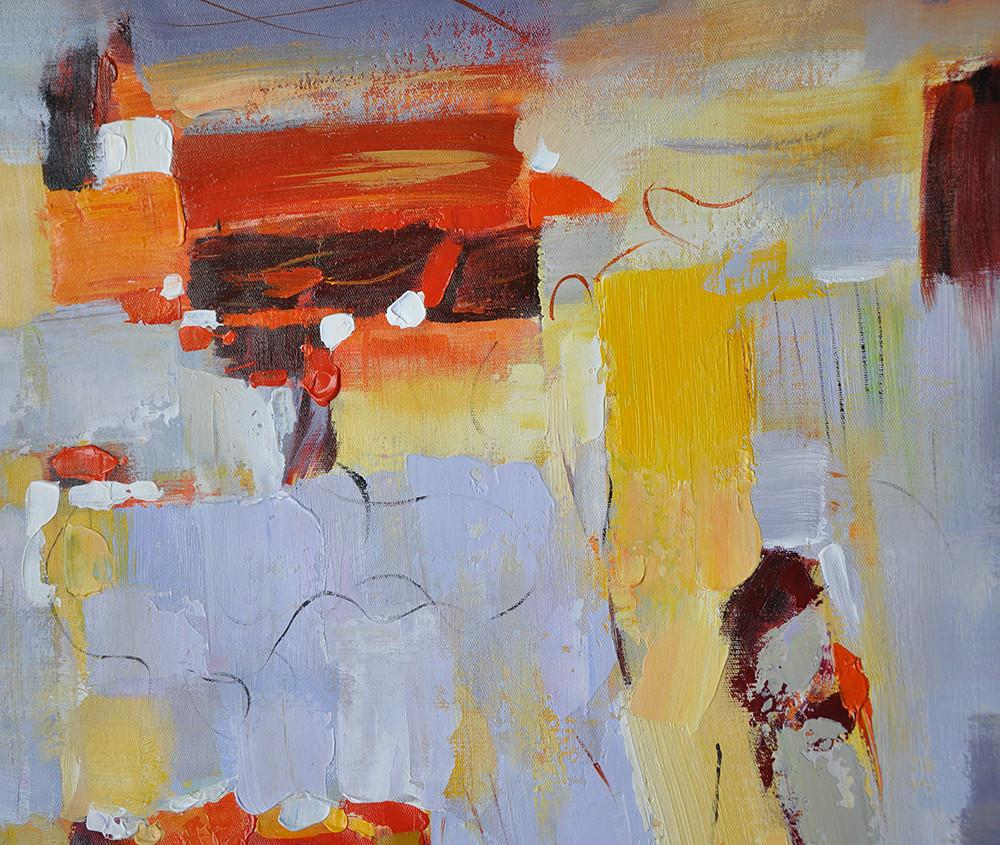 Artwork For Sale,Oversized Horizontal Contemporary Art,Abstract Oil Painting,Grey,Red,Yellow.etc