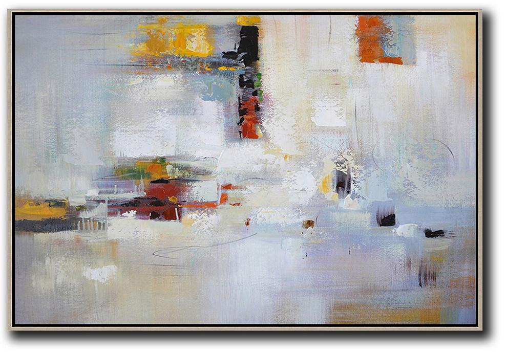 Abstract Oil Painting,Oversized Horizontal Contemporary Art,Modern Paintings,White,Yellow,Red,Grey.etc