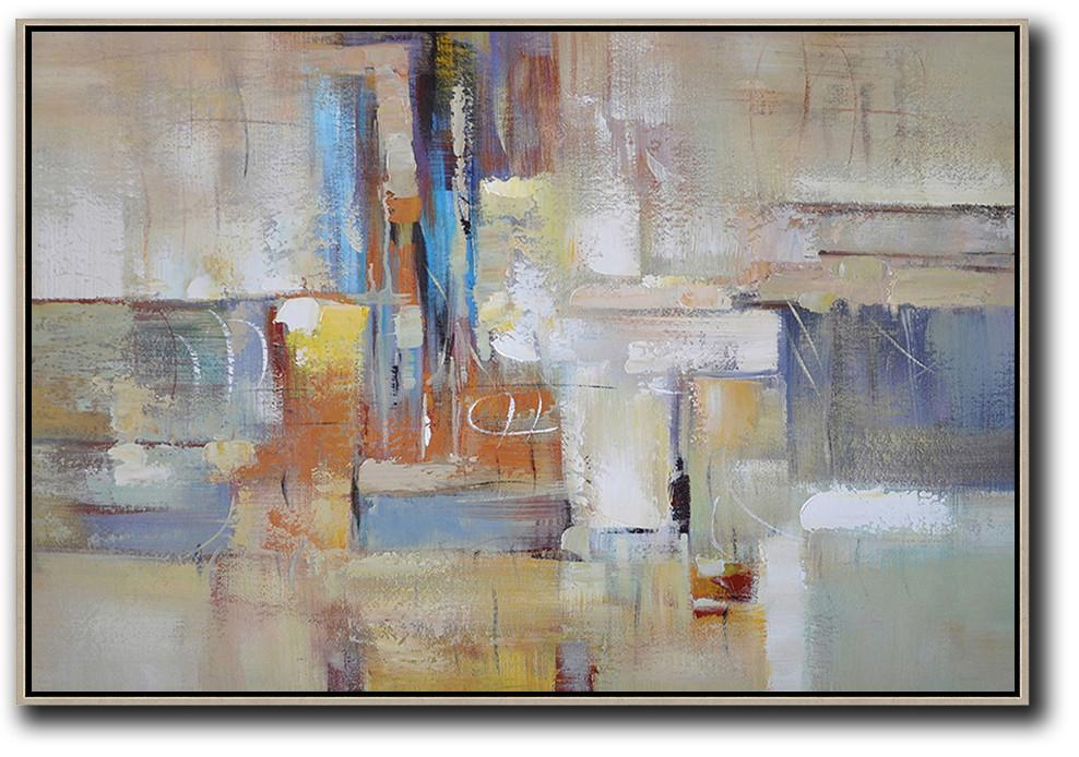 Modern Paintings,Oversized Horizontal Contemporary Art,Canvas Wall Art,Grey,White,Earthy Yellow.etc