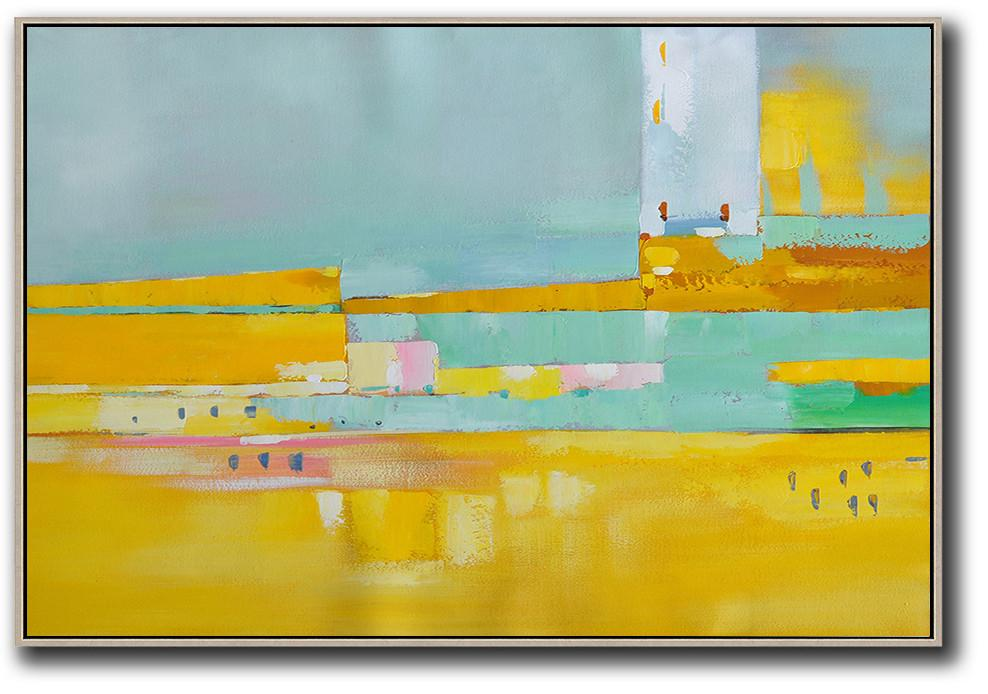 Large Abstract Painting,Oversized Horizontal Contemporary Art,Huge Abstract Canvas Art,Yellow,White,Light Green,Pink.etc