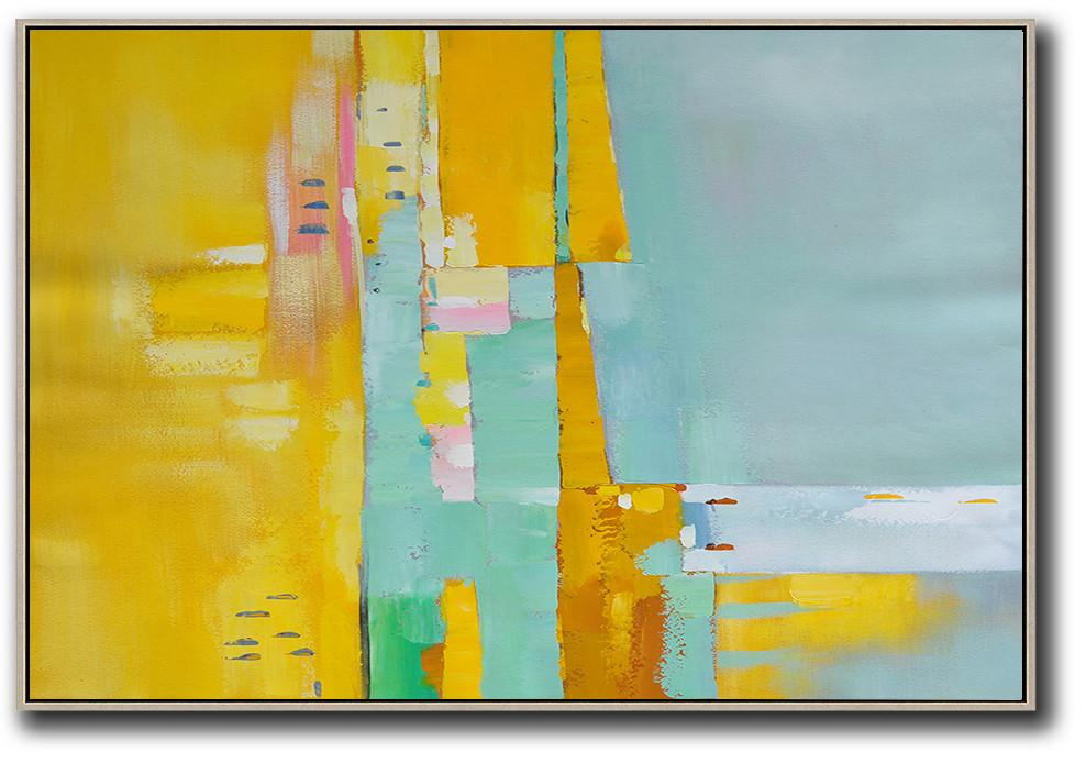 Large Abstract Art,Oversized Horizontal Contemporary Art,Acrylic Painting Large Wall Art,Yellow,White,Light Green,Pink.etc