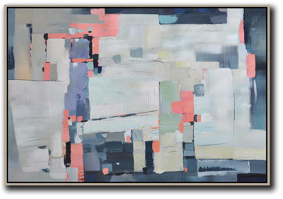 Handmade Large Contemporary Art,Oversized Horizontal Contemporary Art,Modern Canvas Art,White,Pink,Purple,Grey.etc