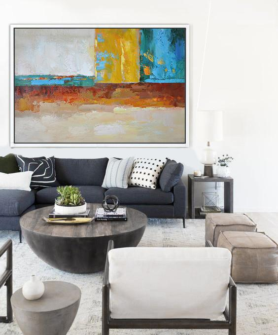 Canvas Wall Art,Oversized Horizontal Contemporary Art,Art Work,Blue,Yellow,White,Red.etc