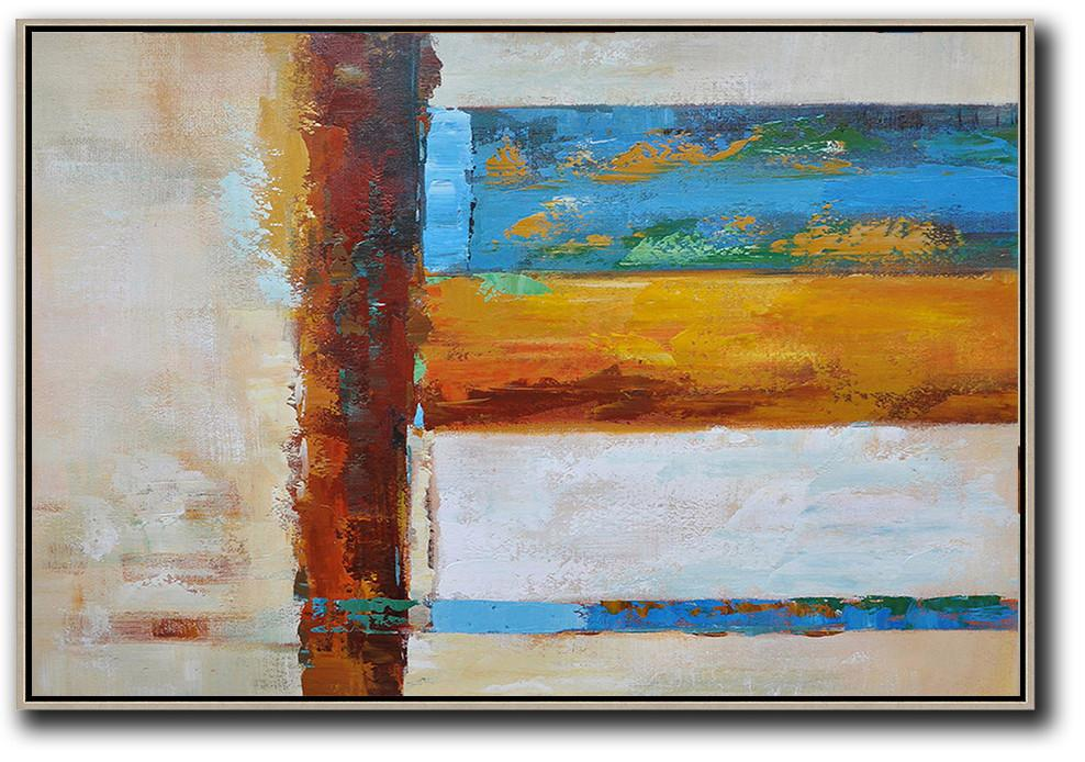 Large Contemporary Art Acrylic Painting,Oversized Horizontal Contemporary Art,Large Contemporary Painting,Blue,Yellow,White,Brown,Light Yellow.etc