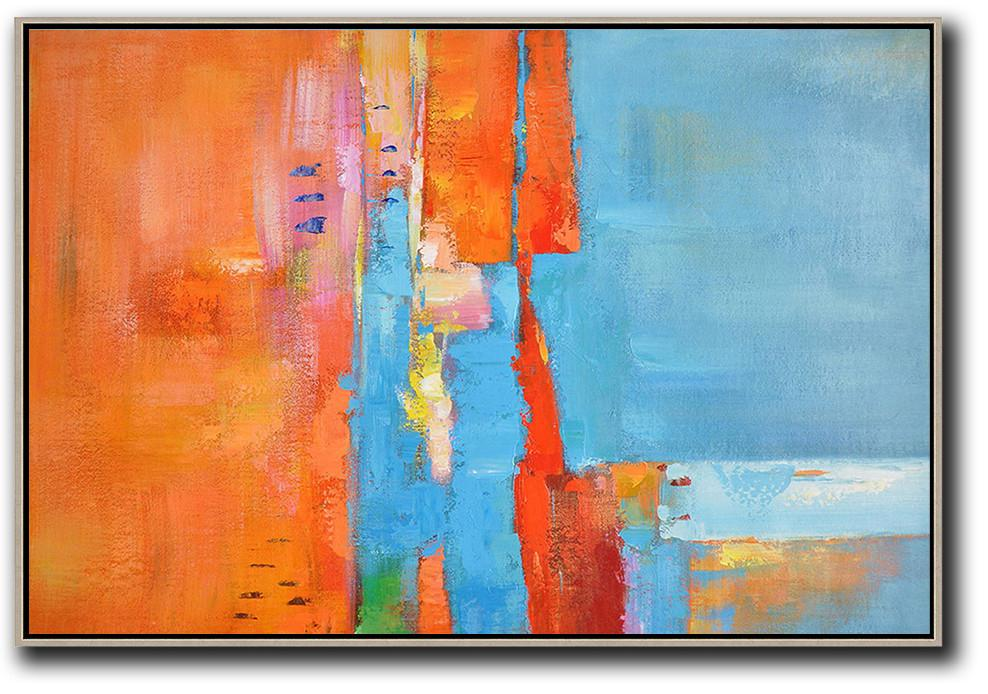 Extra Large Acrylic Painting On Canvas,Oversized Horizontal Contemporary Art,Giant Canvas Wall Art,Orange,Sky Blue,Yellow.etc
