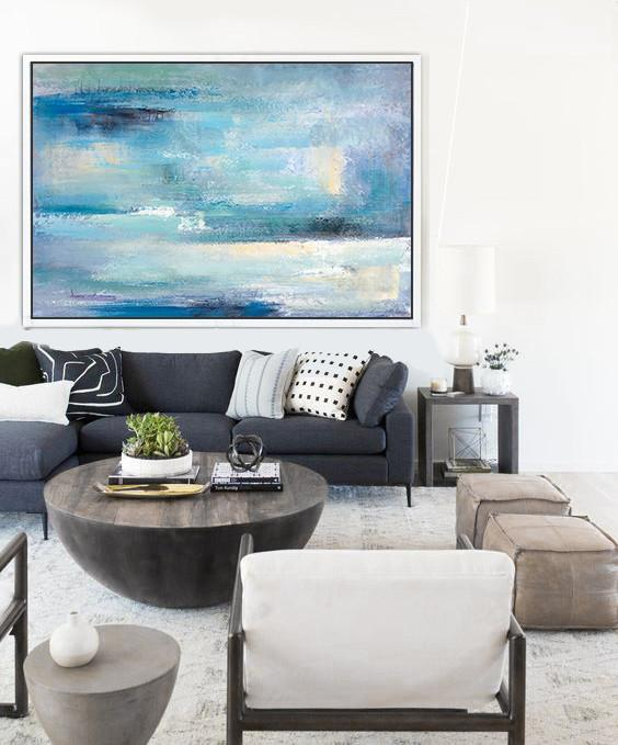 Acrylic Painting On Canvas,Oversized Horizontal Contemporary Art,Large Abstract Wall Art,Blue,Grey,Yellow,White.etc