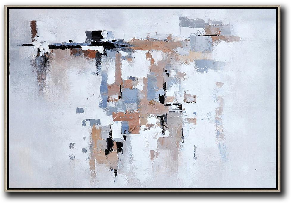 Large Abstract Wall Art,Oversized Horizontal Contemporary Art,Modern Canvas Art,White,Grey,Beige.etc