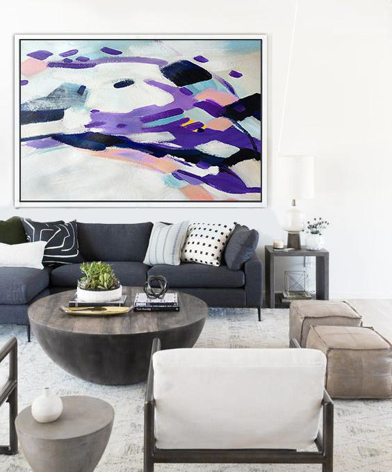 Contemporary Art Canvas Painting,Oversized Horizontal Contemporary Art,Oversized Canvas Art,White,Purple,Pink.etc
