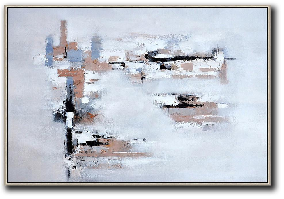 Modern Canvas Art,Oversized Horizontal Contemporary Art,Canvas Paintings For Sale,White,Grey,Beige.etc