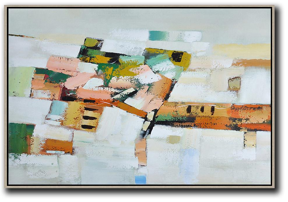 Original Abstract Painting Extra Large Canvas Art,Oversized Horizontal Contemporary Art,Living Room Canvas Art,Grey,White,Pink,Orange,Yellow.etc