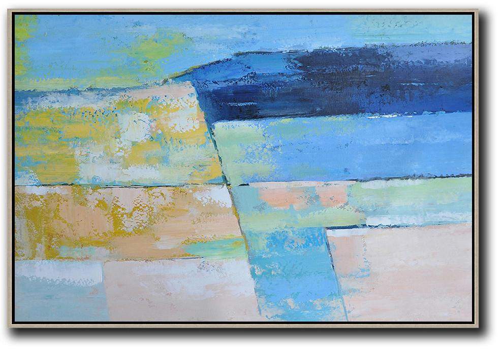 Canvas Paintings For Sale,Oversized Horizontal Contemporary Art,Large Living Room Wall Decor,Blue,Dark Blue,Yellow,Nude.etc
