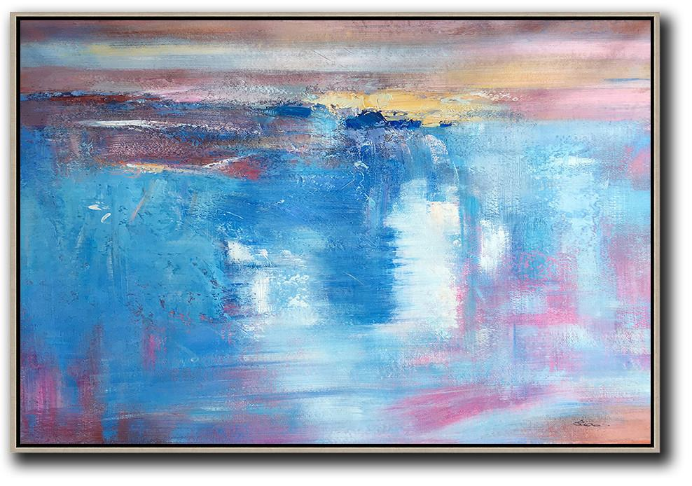 Large Living Room Wall Decor,Oversized Horizontal Contemporary Art,Wall Art Painting,Blue,Pink,Yellow,White.etc