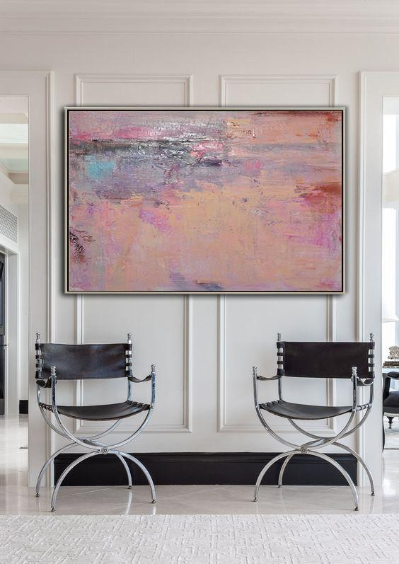 Hand Painted Extra Large Abstract Painting,Oversized Horizontal Contemporary Art,Modern Art,Nude,Pink,Purple,Brown.etc