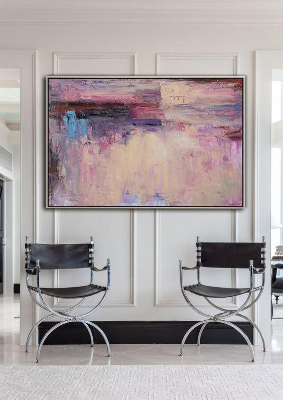 Abstract Painting Extra Large Canvas Art,Oversized Horizontal Contemporary Art,Hand Made Original Art,Purple,Black,Blue,Light Blue.etc