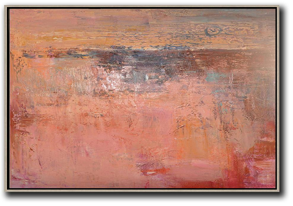Extra Large Canvas Art,Oversized Horizontal Contemporary Art,Hand Painted Abstract Art,Pink,Nude,Brown,Red.etc