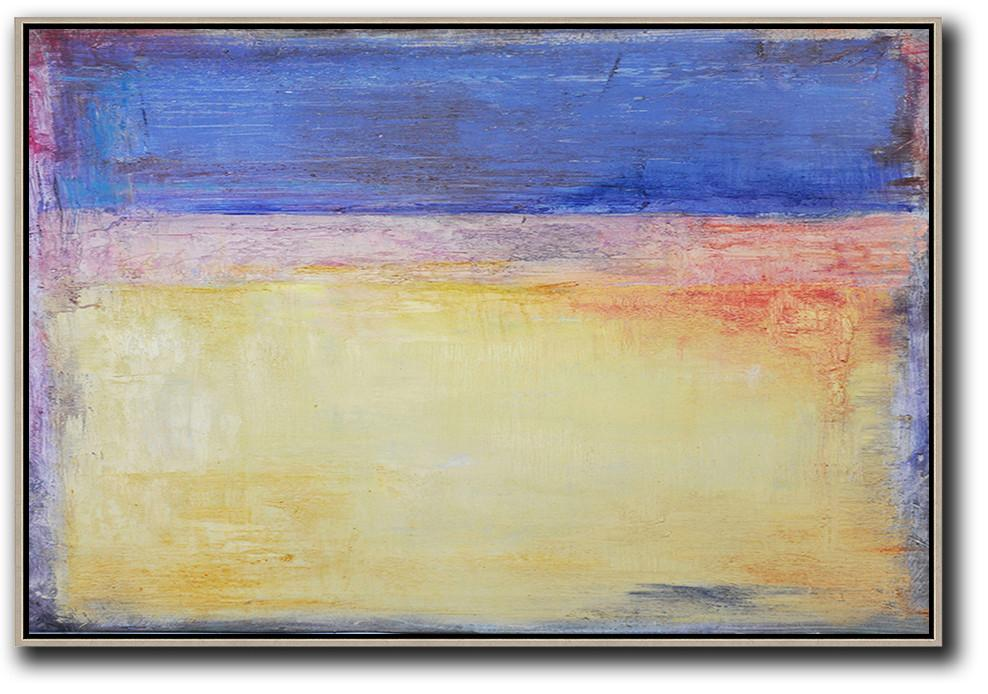 Extra Large Abstract Painting On Canvas,Oversized Horizontal Contemporary Art,Hand-Painted Canvas Art,Blue,Purple,Yellow,Red.etc