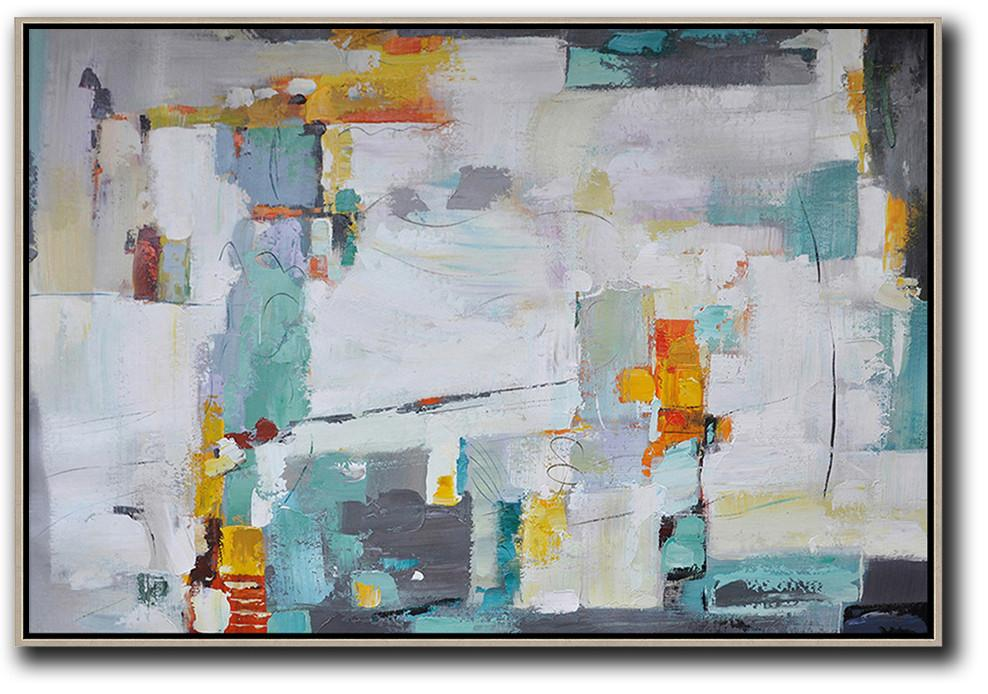 Handmade Large Contemporary Art,Oversized Horizontal Contemporary Art,Contemporary Art Wall Decor,White,Grey,Lake Blue,Yellow.etc