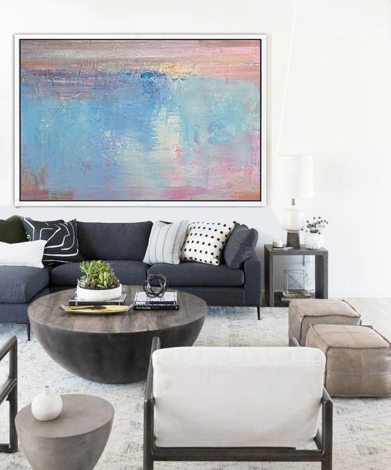 Large Abstract Painting On Canvas,Oversized Horizontal Contemporary Art,Original Art Acrylic Painting,Sky Blue,Pink,White.etc