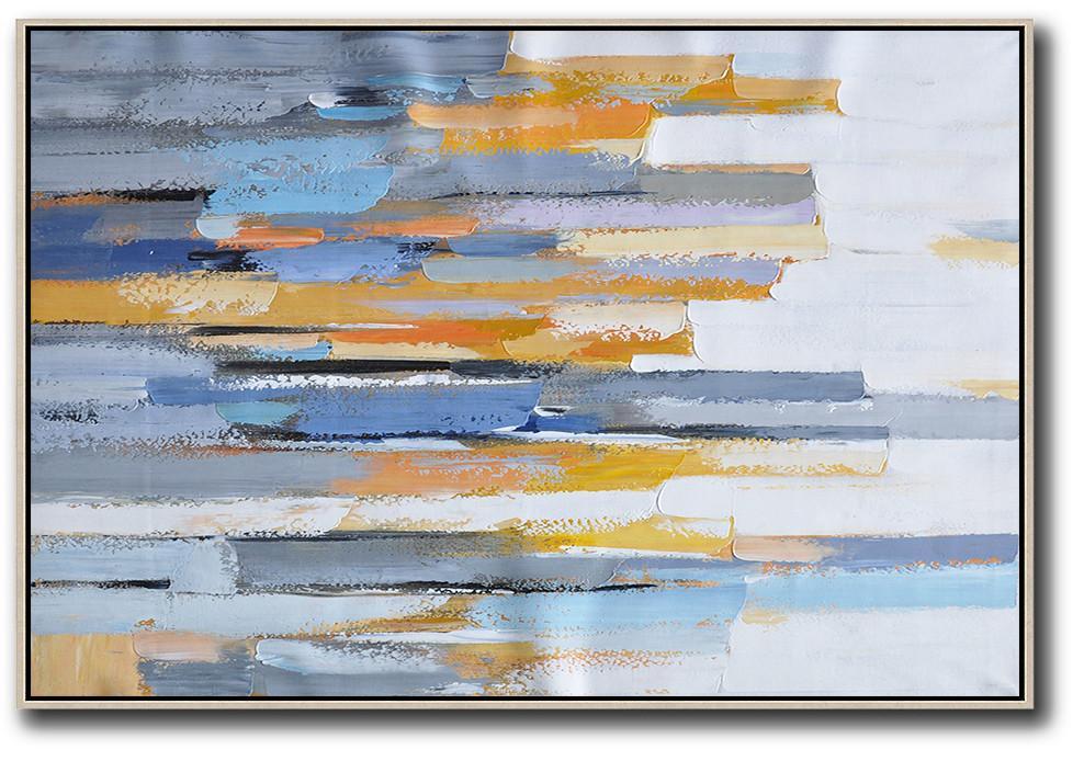 Large Abstract Art Handmade Painting,Oversized Horizontal Contemporary Art,Large Canvas Wall Art For Sale,White,Grey,Blue,Yellow.etc