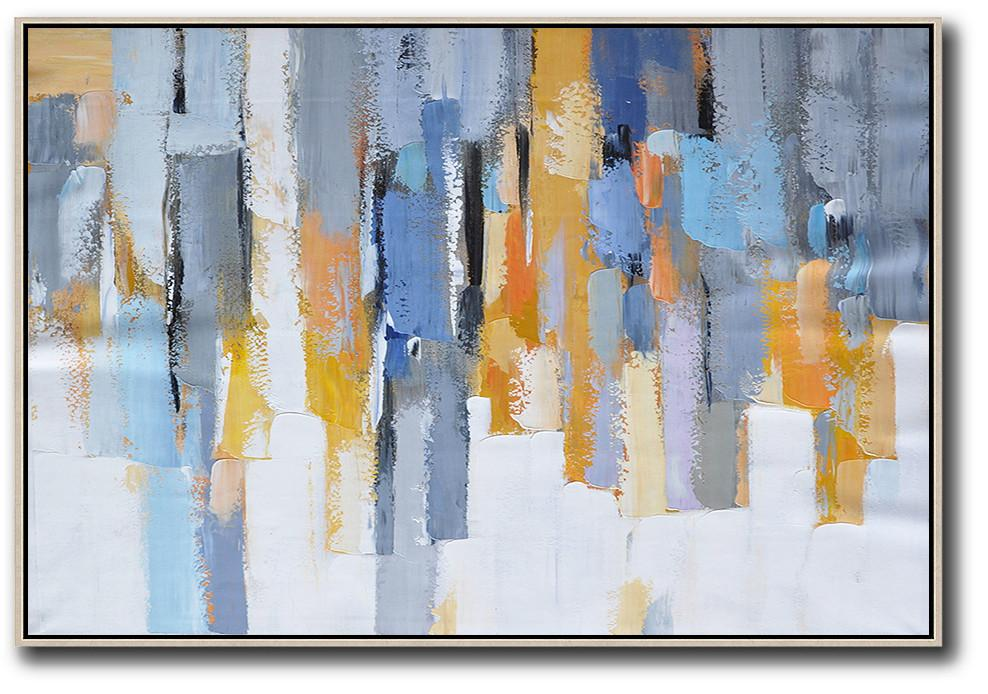 Handmade Painting Large Abstract Art,Oversized Horizontal Contemporary Art,Modern Paintings On Canvas,White,Grey,Blue,Yellow.etc