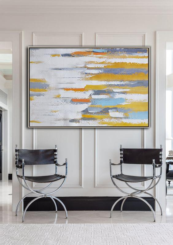 Large Modern Abstract Painting,Oversized Horizontal Contemporary Art,Extra Large Artwork,White ,Grey,Yellow,Orange.etc